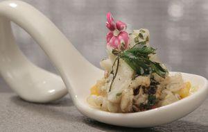 Lagosta com ervas e cevadinha cremosa de lagostins