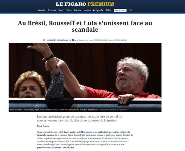 Le Figaro diz que Dilma e Lula se unem para enfrentar o escândalo de corrupção  (Foto: Reprodução/Le Figaro)