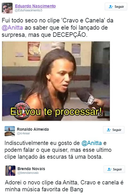 Memes sobre o clipe de Anitta (Foto: Reprodução / Twitter)