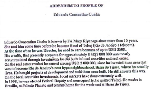 Documento aponta que Eduardo Cunha mantinha US$ 5 milhões em contas no exterior (Foto: Reprodução)