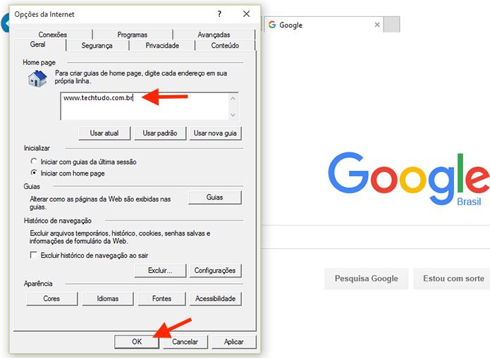 Alterando a página inicial do Internet Explorer (Foto: Reprodução/Marvin Costa)