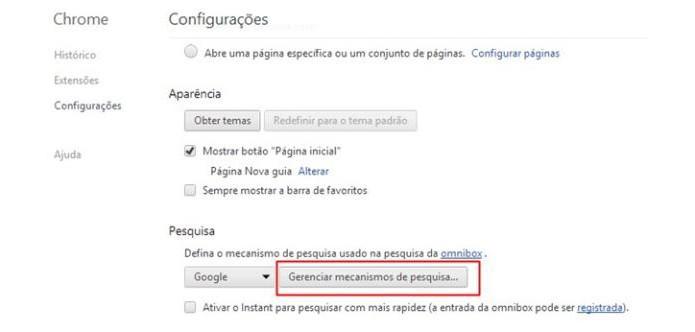 Abra a gestão de pesquisa do Chrome (Foto: Reprodução/Paulo Alves)