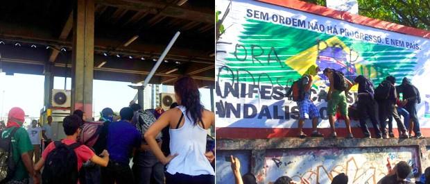 Cancelas do pedágio foram danificadas; e outdoor pichado, na Beira Mar. (Foto: Juliana Borges/ G1ES)