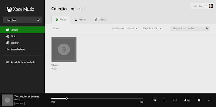Executando colação de músicas através da web (Foto: Reprodução/Helito Bijora)