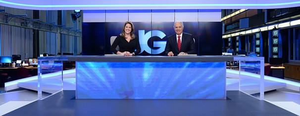 Cristiane Pelajo e William Waack no novo espaço que o Jornal da Globo estreou na segunda, dia 28 (Foto: Zé Paulo Cardeal/Globo)