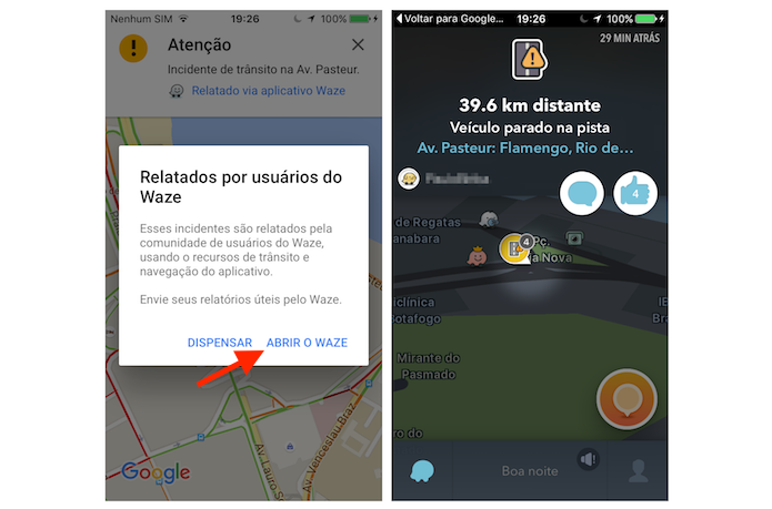 Acessando o redirecionamento do Google Maps com o Waze no iPhone (Foto: Reprodução/Marvin Costa)