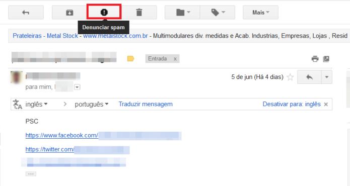 Denunciando o e-mail como spam (Foto: Reprodução/Lívia Dâmaso)