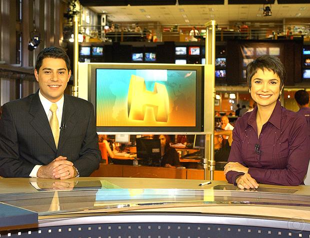Evaristo Costa e Sandra Annenberg na bancada do Jornal Hoje em 2007 (Foto: Paulo Cardel/TV Globo)