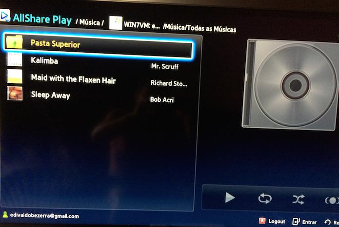 Acessando músicas do PC na TV via DLNA (Foto: Reprodução/Edivaldo Brito)