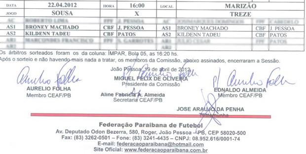 Escala de árbitros da Federação Paraibana de Futebol (Foto: Reprodução)