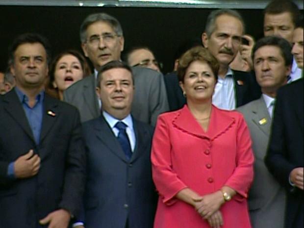Presidente Dilma Rousseff na inauguração do Mineirão, em Belo Horizonte. (Foto: Reprodução/EBC)