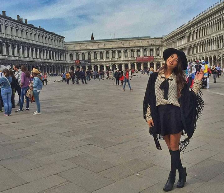 Cynthia em uma de suas viagens no tempo livre (Foto: Arquivo Pessoal)