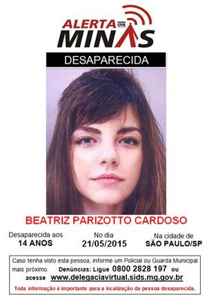 Atriz mirim Beatriz Parizotto é procurada em Belo Horizonte após desparecer de São Paulo (Foto: Divulgação/Polícia Civil de Minas Gerais)
