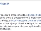 Dilma diz no Facebook que Senado decidiu afastá-la sem 'apontar crime'