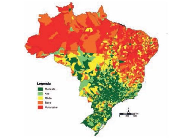 Mapa de 'prosperidade social' divulgado pelo Ipea. Áreas em verde reúnem IDH alto e vulnerabilidade baixa; áreas em laranja e vermelho têm IDH baixo e vulnerabilidade alta (Foto: Ipea/Reprodução)