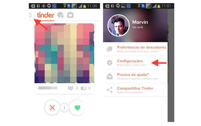Acessando as configurações do Tinder no Android (Foto: Reprodução/Marvin Costa)