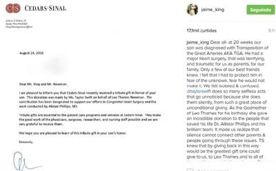 Jaime King divulga doação de Taylor Swift a hospital que operou seu filho (Foto: Reprodução)