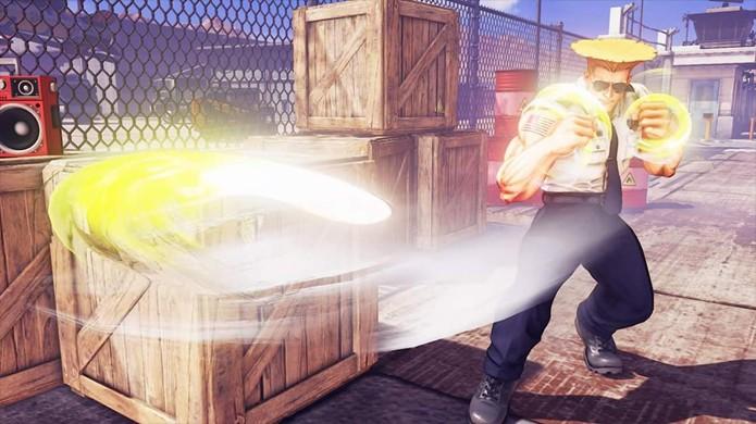 Imagem de Guile ao disparar seu famoso Sonic Boom em Street Fighter 5 (Foto: Reprodução/Polygon)