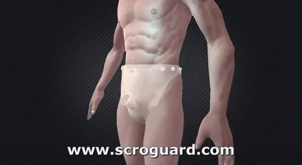 Empresa criou camisinha em formato de fralda que promete reduzir o contato de pele durante o sexo (Foto: Reprodução/YouTube/Scroguard)