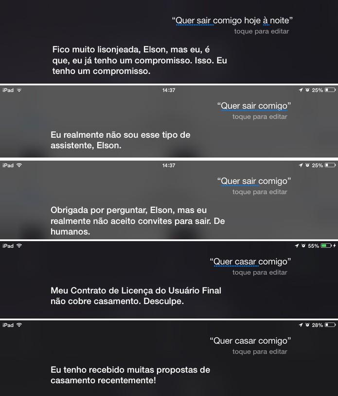 Siri rebate todos os convites e pedidos feitos pelos usuários (Foto: Reprodução/Elson de Souza)