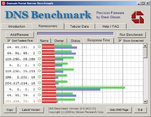 DNS Benchmark em funcionamento.