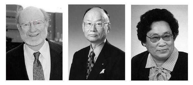 William C. Campbell. Satoshi Omura e Youyou Tu (esq. para a dir.) ganhadores do Prêmio Nobel de Medicina ou Fisiologia de 2015. (Foto: Fundação Nobel)