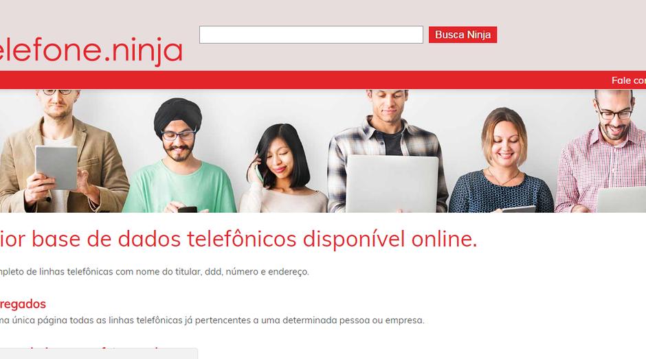 Reprodução da tela inicial do Telefone.ninja (Foto: Reprodução)