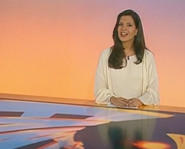 Helena Ranaldi na bancada do Fantástico, em 1996 (Foto: Vídeo Show/TV Globo)