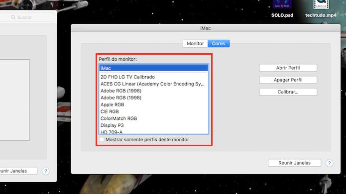 Opção para determinar o padrão de cores de um monitor espelhado com um Mac (Foto: Reprodução/Marvin Costa)