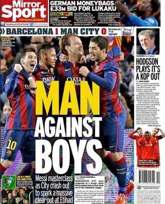 Capa jornal inglês - City x Barça