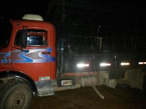 Caminhão receptado serviria para transportar gado roubado (Foto: PM/Divulgação)