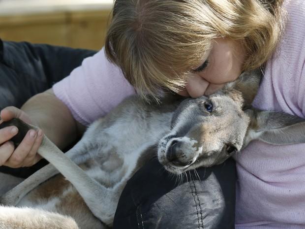 Canguru Irwin recebe carinho da dona, Christie Carr (Foto: Sue Ogrocki/AP)