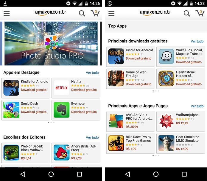 Amazon Appstore é alternativa para Play Store. (Foto: Reprodução/Alessandro Junior)