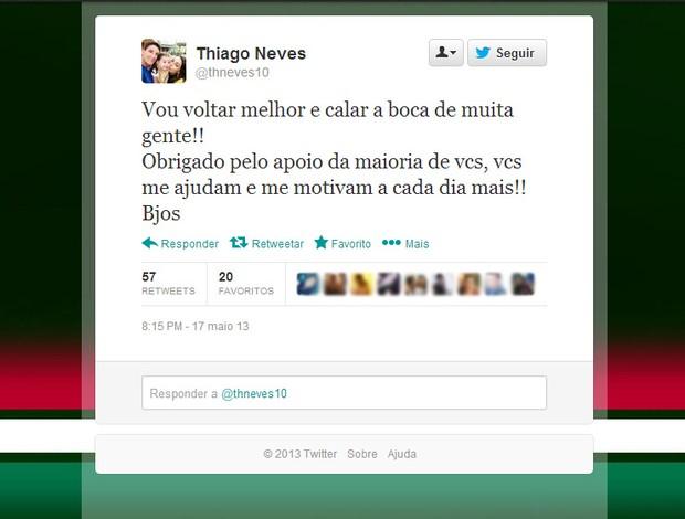 Reprodução Twitter Thiago Neves  (Foto: Reprodução / Twitter)