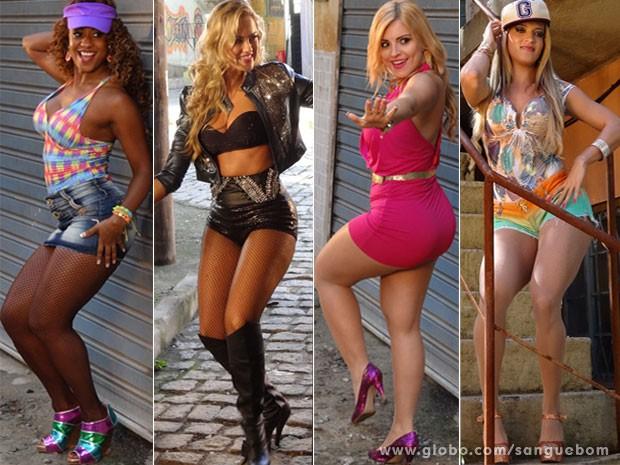 Com estilos diferentes, elas arrasam com roupas que valorizam o corpo (Foto: Sangue Bom / TV Globo)