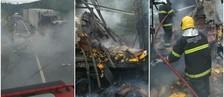 Carreta pega fogo após acidente na BR-267 (Corpo de Bombeiros/Divulgação)