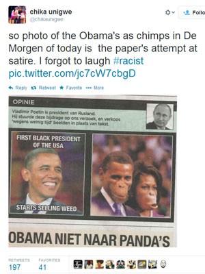 Imagem reproduzida no perfil do Twitter da escritora Chika Unigwe mostra a imagem que estaria no jornal belga (Foto: Reprodução/Twitter Chika Unigwe)
