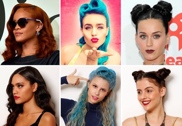 Cantoras do Rock in Rio 2015: Rihanna, Amy Sheppard e Katy Perry servem de inspiração de passo a passo para copiar penteados. As modelos Ana Beatriz Reis, Hellen Beatryce e Joamma Coimbra testaram  (Foto: Marcos Serra Lima/Ego)