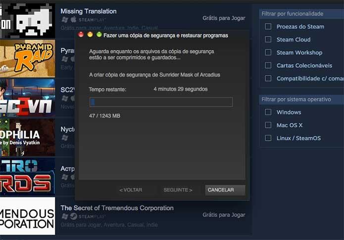 Restaurar a cópia do Steam é um processo rápido (Foto: Reprodução/Felipe Vinha)