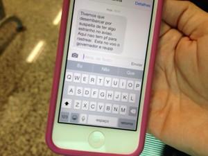 Mensagem de um dos passageiros à familiar (Foto: Ísis Capistrano/G1)