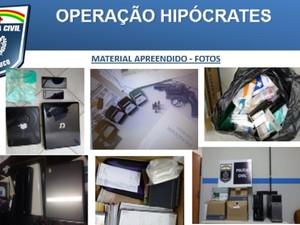 Material apreendido na Operação Hipócrates, da Polícia Civil (Foto: Reprodução/Polícia Civil)