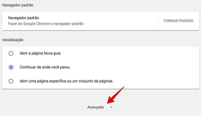 Acesse as configurações avançadas do Chrome (Foto: Reprodução/Helito Bijora)
