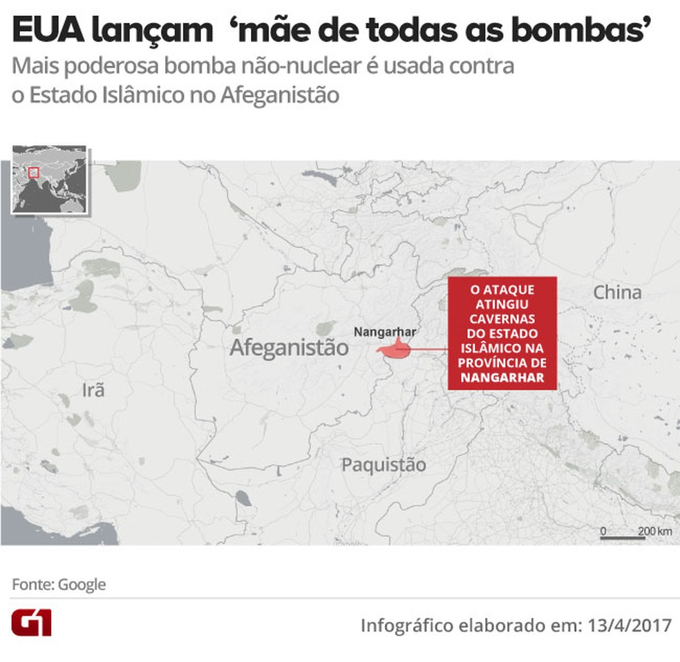 Mapa bomba Moab (Foto: Editoria de Arte/G1)