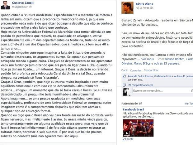 Postagem de advogado circula nas redes sociais (Foto: Reprodução/Facebook)