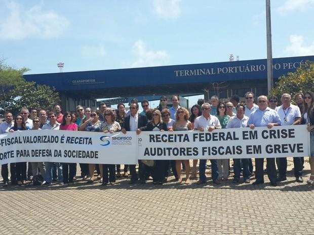 Paralisação das aduanas no Ceará (Foto: Divulgação/Sindifisco)