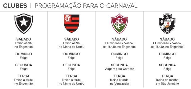info programação clubes carnaval (Foto: arte espotre)