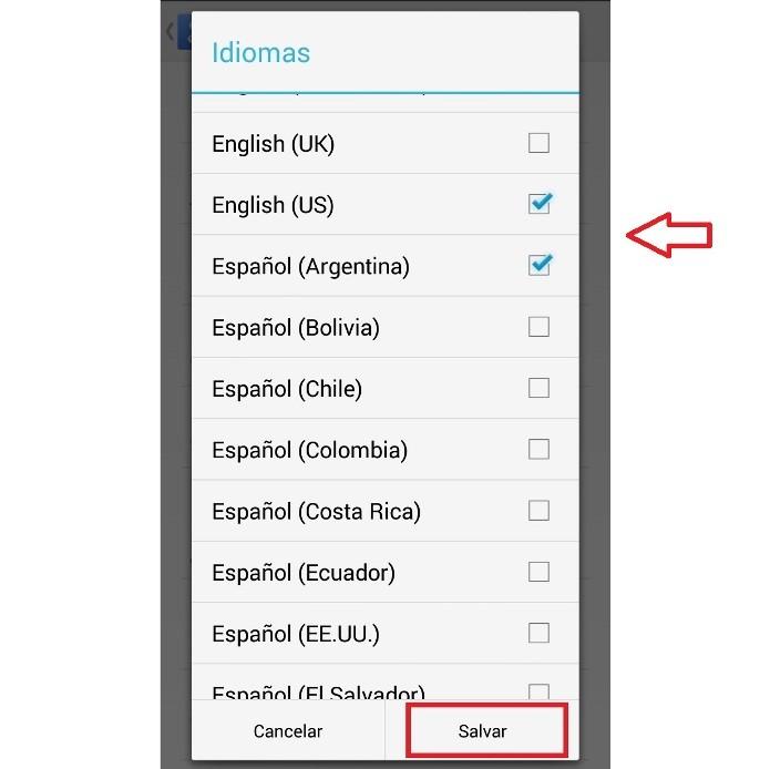 Selecionando os idiomas no aplicativo (Foto: Reprodução/Lívia Dâmaso)