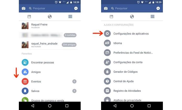 Caminho para as configurações de aplicativos do Facebook para Android (Foto: Reprodução/Raquel Freire)