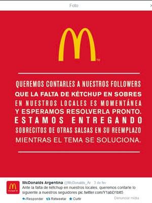 Mc Donald's argentino informa desabastecimento de ketchup (Foto: Reprodução/Twitter)