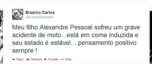 Erasmo Carlos fala sobre acidente do filho (Foto: Twitter / Reprodução)